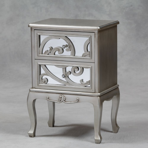 Rococo Mirrored Bedside in Antique Silver